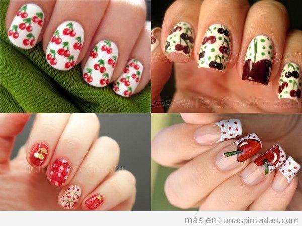 Uñas pintadas con decoración de cerezas