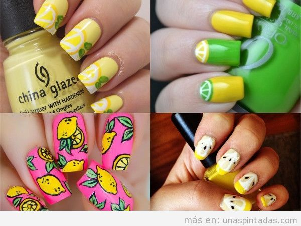 Uñas decoradas con limones