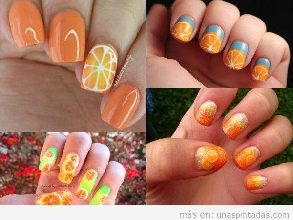 Uñas decoradas con naranjas