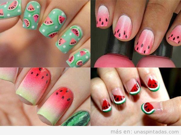 Decoraciones de uñas con sandías