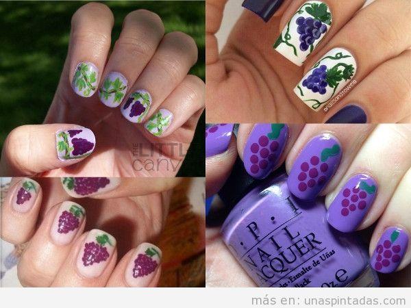 Uñas decoradas con uvas