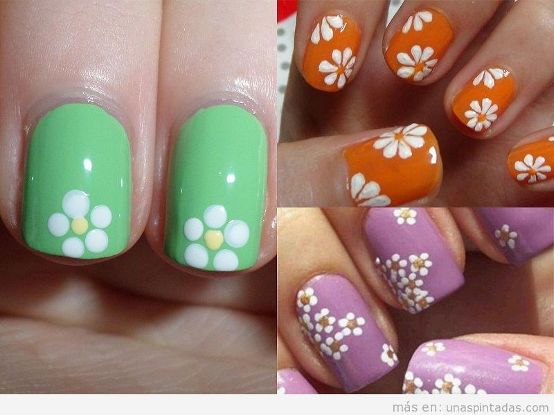 Decoración de uñas con margaritas y fondo de colores vivos