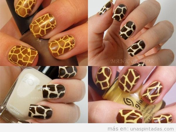 Uñas decoradas piel de jirafa en marrón