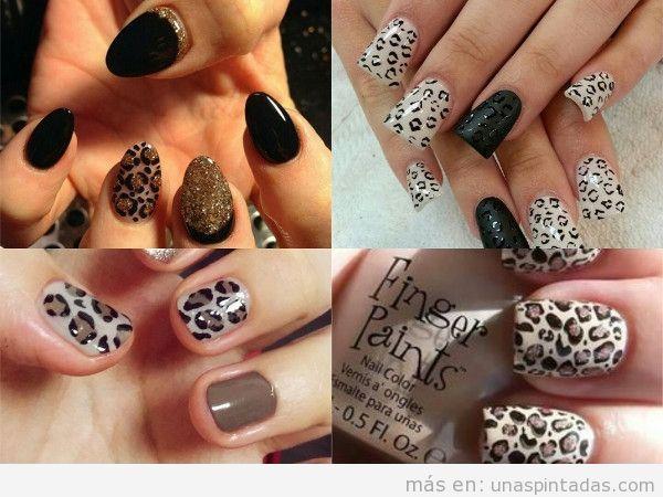 Uñas pintadas de leopardo blancas
