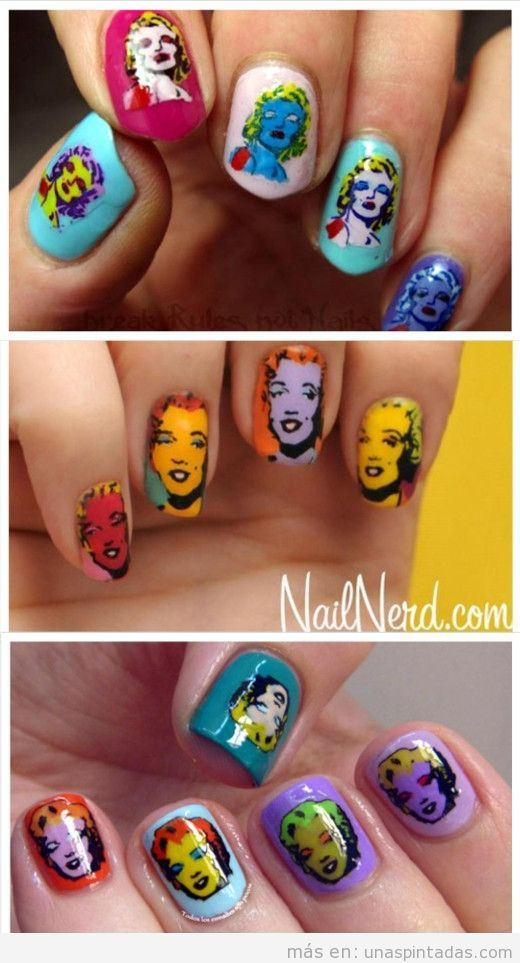 Uñas decoradas estilo pop art de Marilyn Monroe