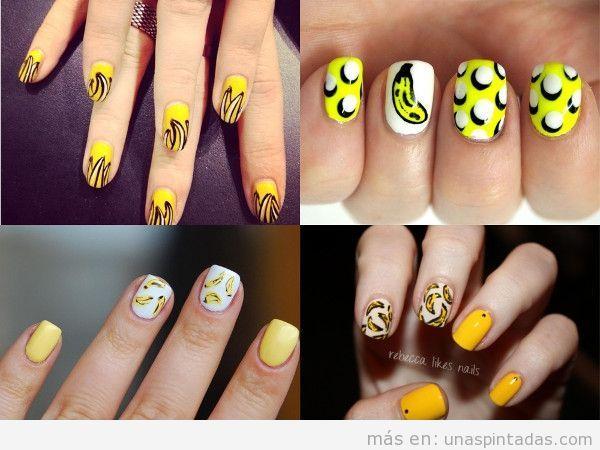 Uñas pintadas con decoración de plátanos