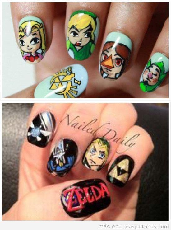 Uñas decoradas con dibujos de Zelda