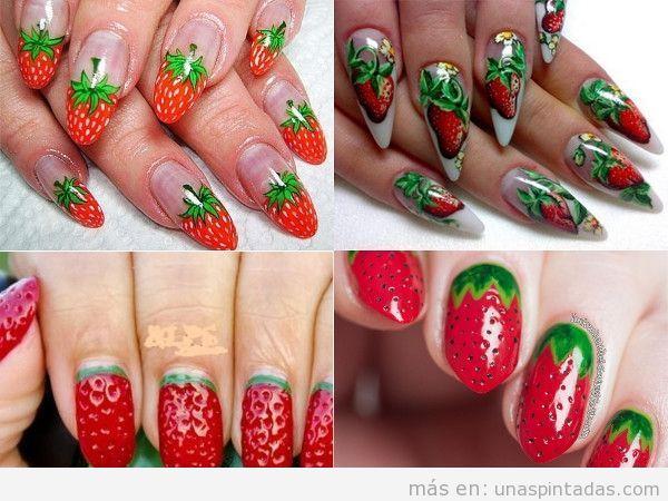 Uñas ovaladas con fresas