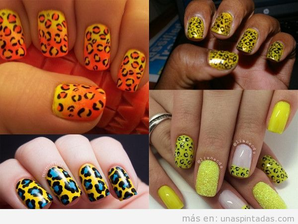 Uñas decoradas de leopardo amarillas