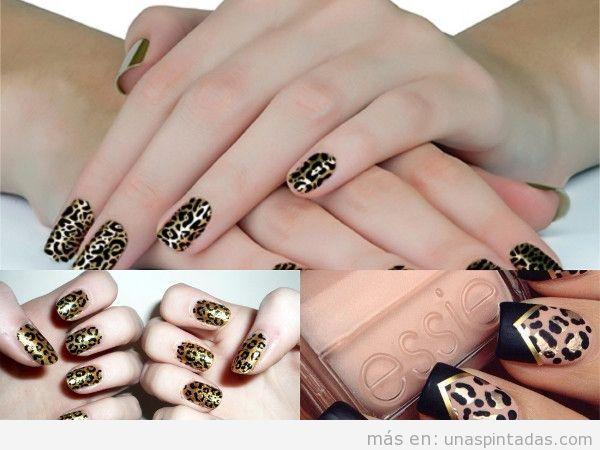 Uñas de leopardo doradas