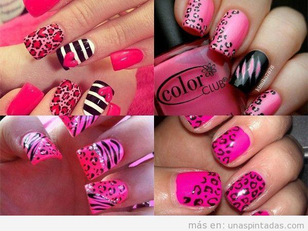 Decoración de uñas como leopardo rosa
