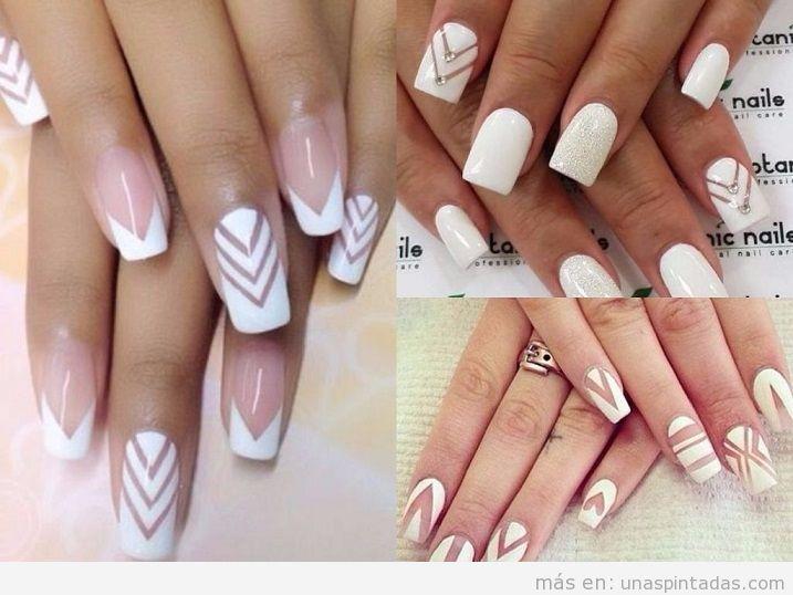 Decoración uñas pintadas de blanco con rayas transparentes