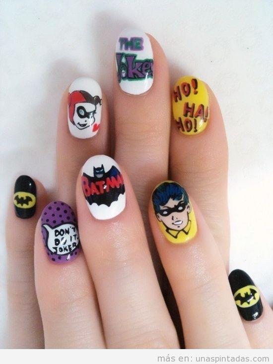 Uñas pintadas con personajes de Batman