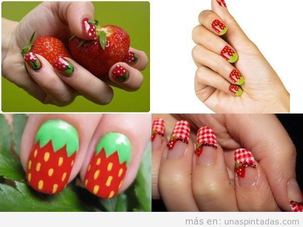 Uñas pintadas decoradas con fresas