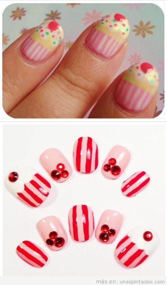 Uñas pintadas con cupcakes de rosa