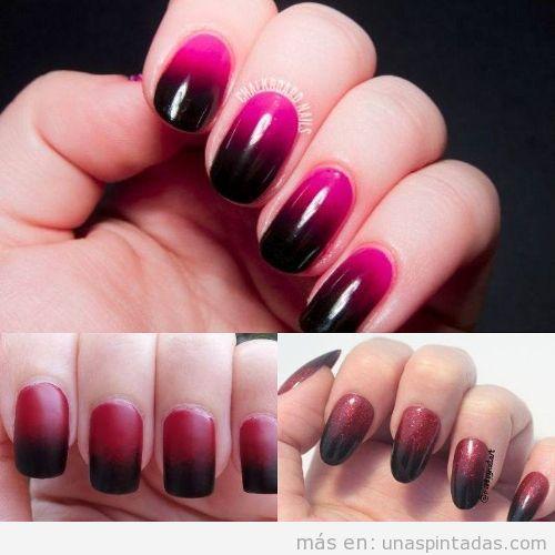 Uñas de rojo degradadas