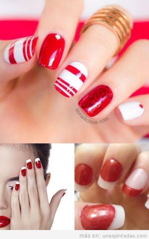 Uñas pintadas de blanco y rojo