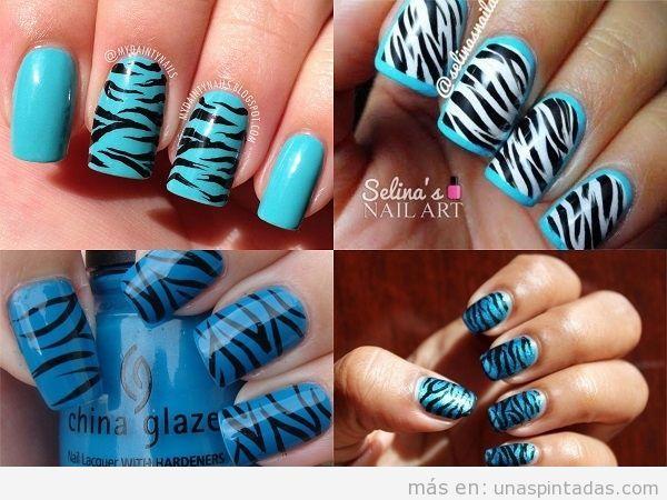 Uñas con animal print de cebra en azul