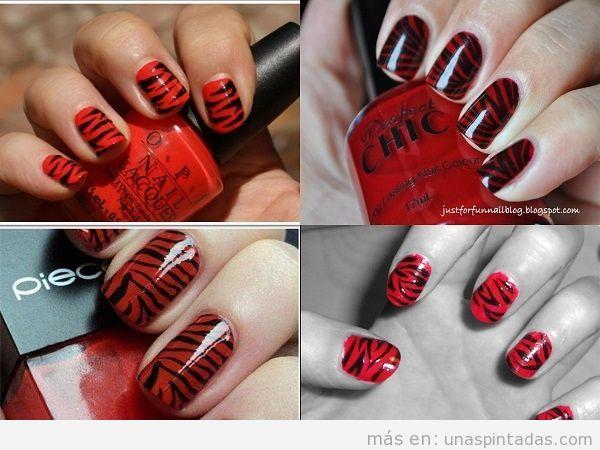 Uñas pintadas con cebra en rojo
