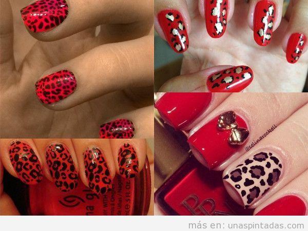 Uñas de leopardo rojas