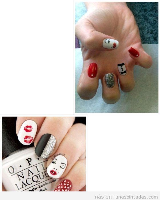 Uñas pintadas Marilyn Monroe en rojo