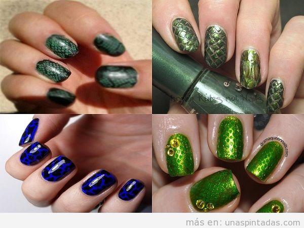 Decoración de uñas de piel de serpiente en verde