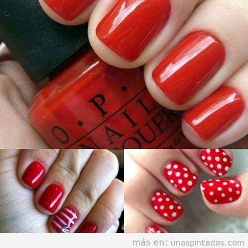 Uñas cortas pintadas de rojo