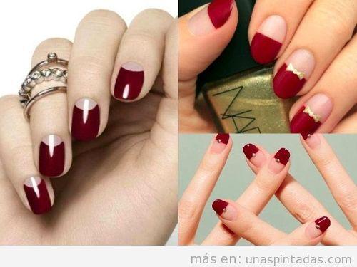 Uñas pintadas de rojo con otro color
