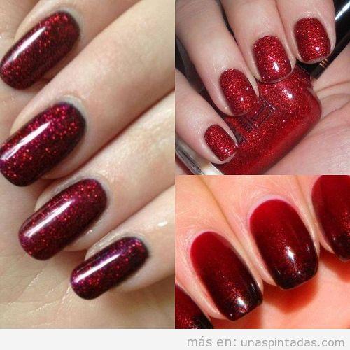 Uñas de rojo con purpurina
