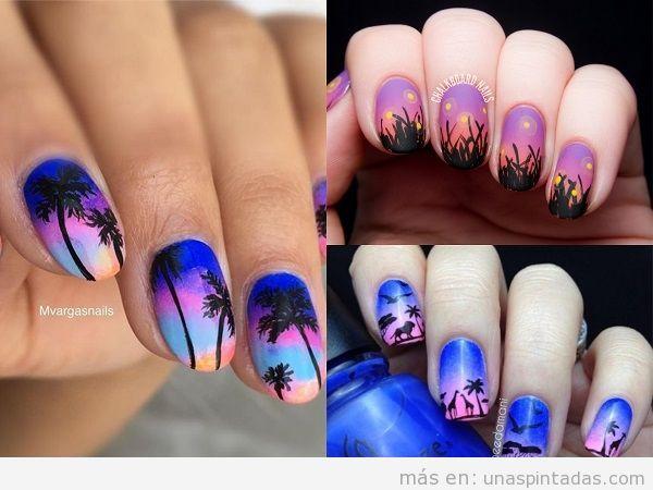 Decoraciones de uñas de atardecer en tonos azules