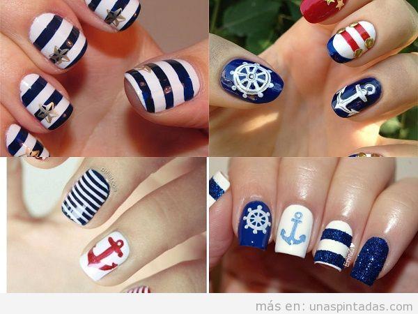 Decoraciones uñas de verano con dibujos marineros