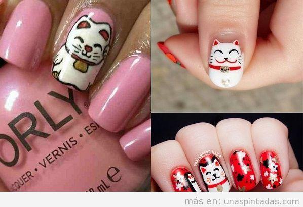 decoracioDecoraciones de uñas con gatos japoneses Maneki Meko