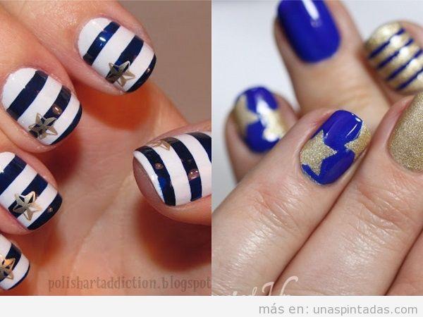Decoraciones de uñas marineras con estrellas