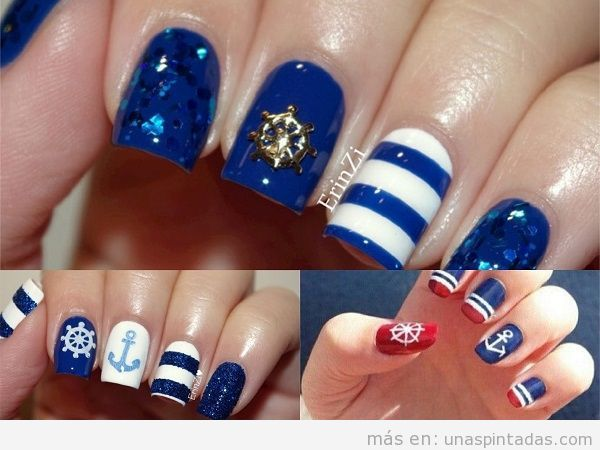 Decoraciones de uñas marineras con timones