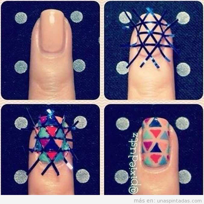Tutorial decoración de uñas con mosaico de triángulos