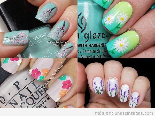 Decoraciones de uñas de primavera con flores