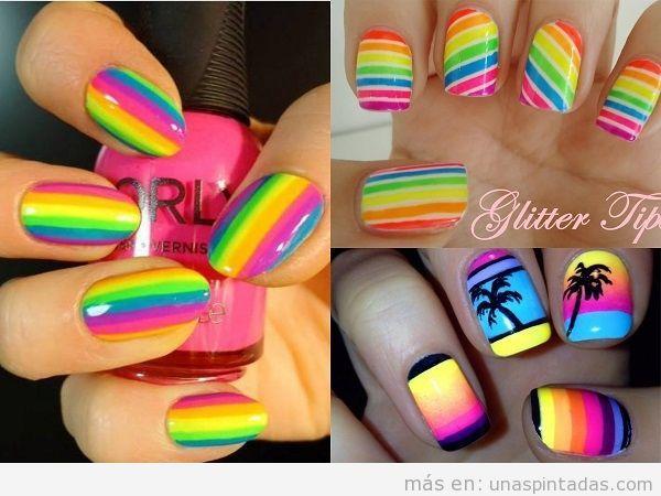 Decoraciones uñas de rayas colores neón para verano