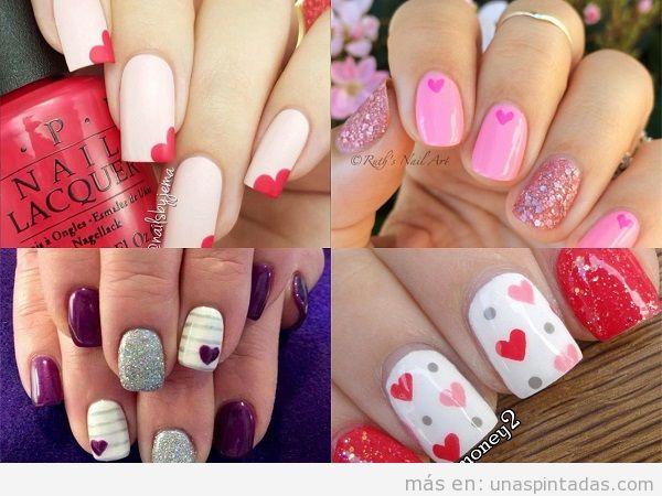 Decoraciones de uñas para San Valentin con corazones