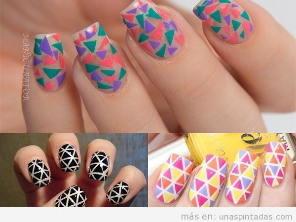 Decoraciones de uñas con triángulos estilo mosaico