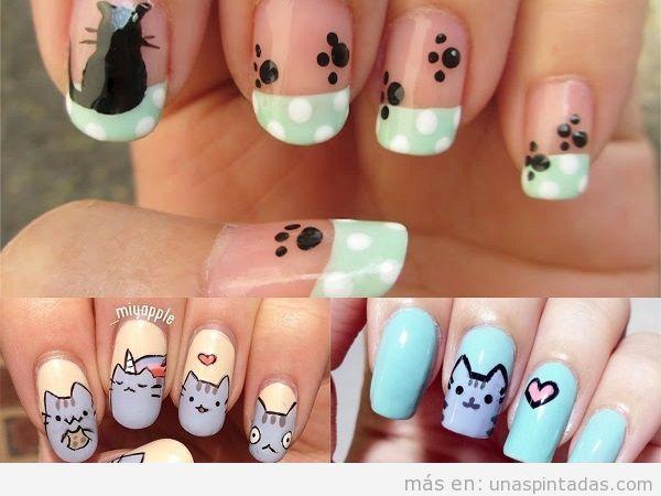 Decoraciones de uñas con gatos bonitos