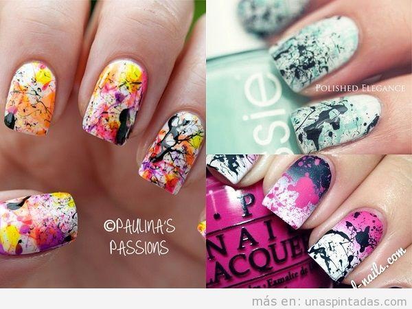 Decoraciones de uñas con salpicaduras de color negro