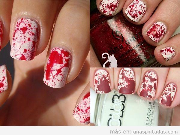 Decoraciones de uñas con salpicaduras de sangre
