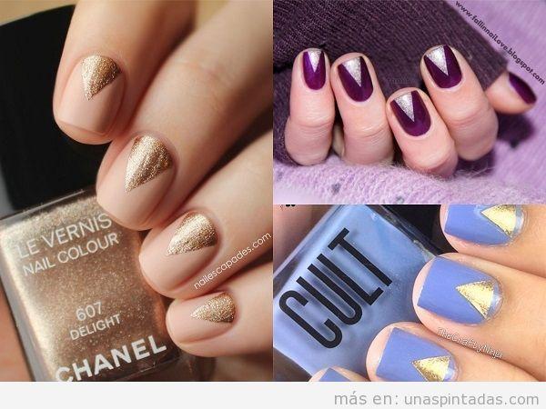 Decoraciones de uñas con triángulos de purpurina