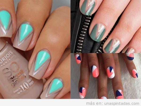 Decoraciones de uñas con dos triángulos