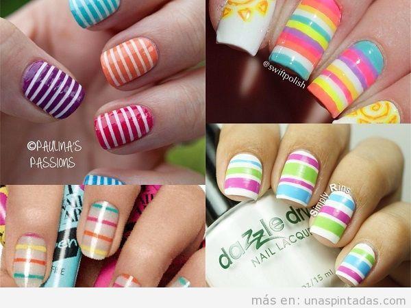 Decoraciones uñas de rayas colores vivos para verano