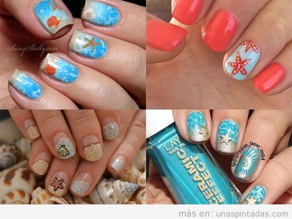 Decoraciones uñas de verano con caracolas y estrellas