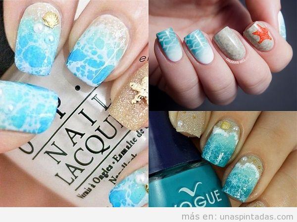 Decoraciones uñas de verano con espuma de mar