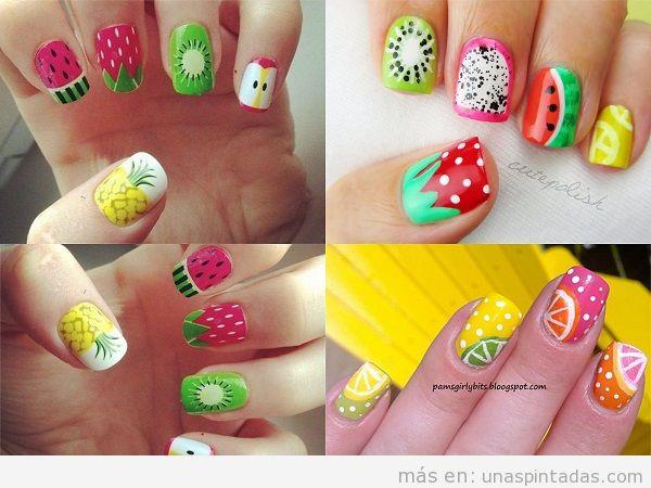 Decoraciones uñas de verano con dibujos de frutas