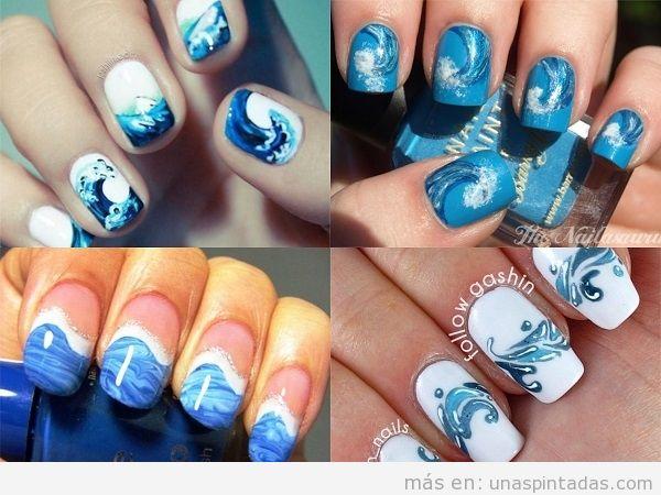Decoraciones uñas de verano con olas