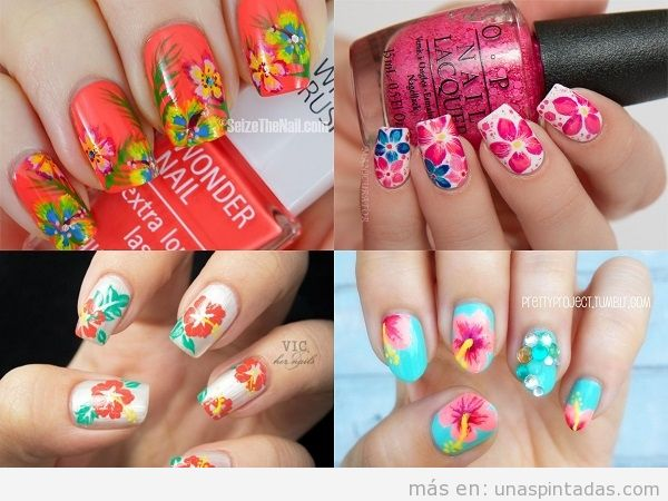 Decoraciones uñas de verano con dibujos tropicales